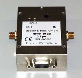 GHz amplifier for PMTs, MCPs